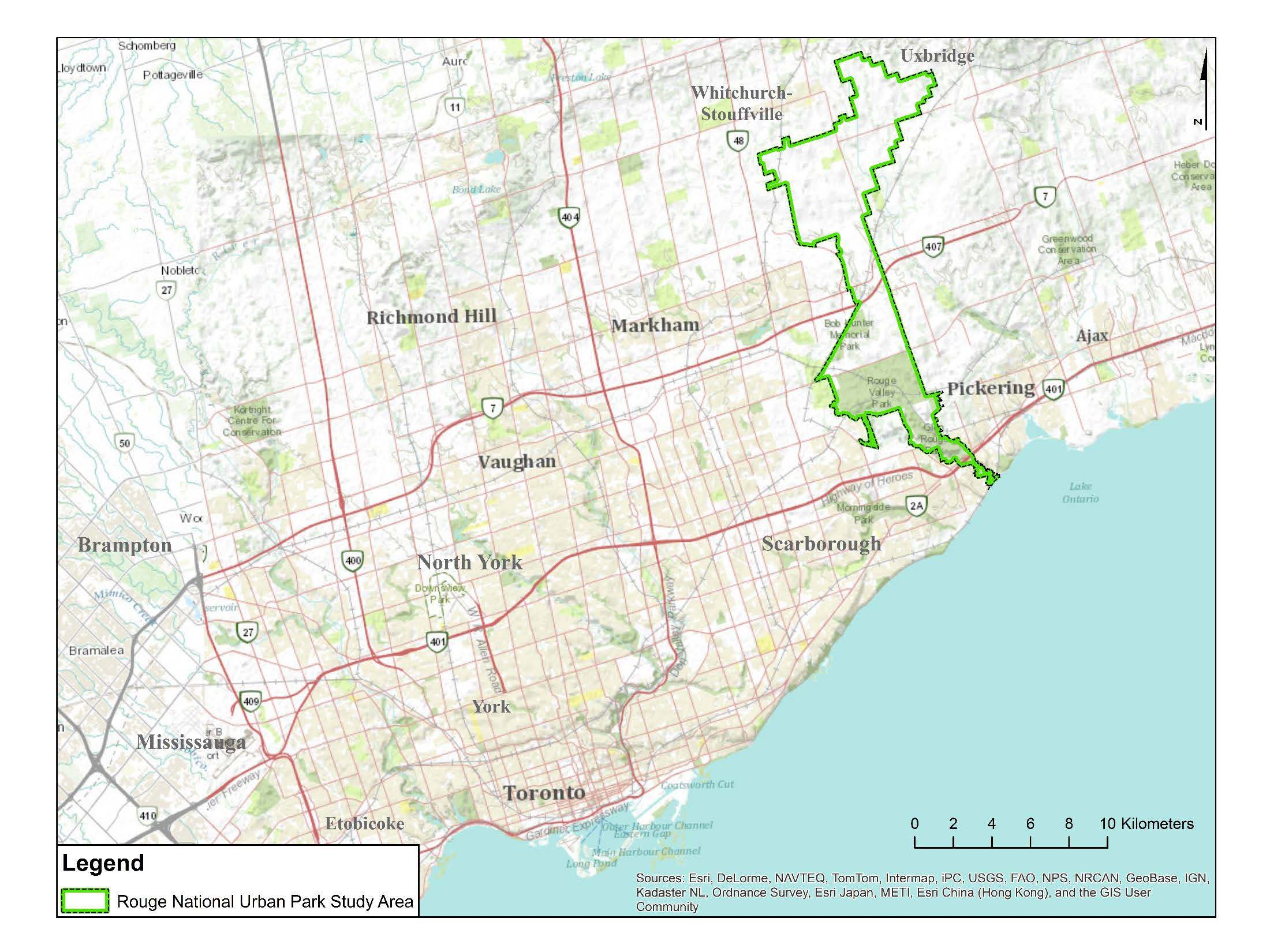 Carte du Parc urbain national de la Rouge et de la région du Grand Toronto