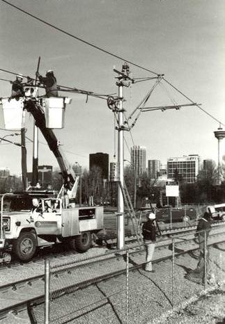 Construction of LRT, CTrain, Calgary, 1981