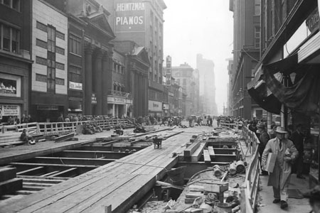 Yonge Street subway construction