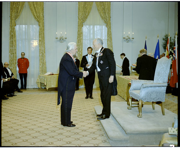 Robertson Davies receiving the Order of Canada.