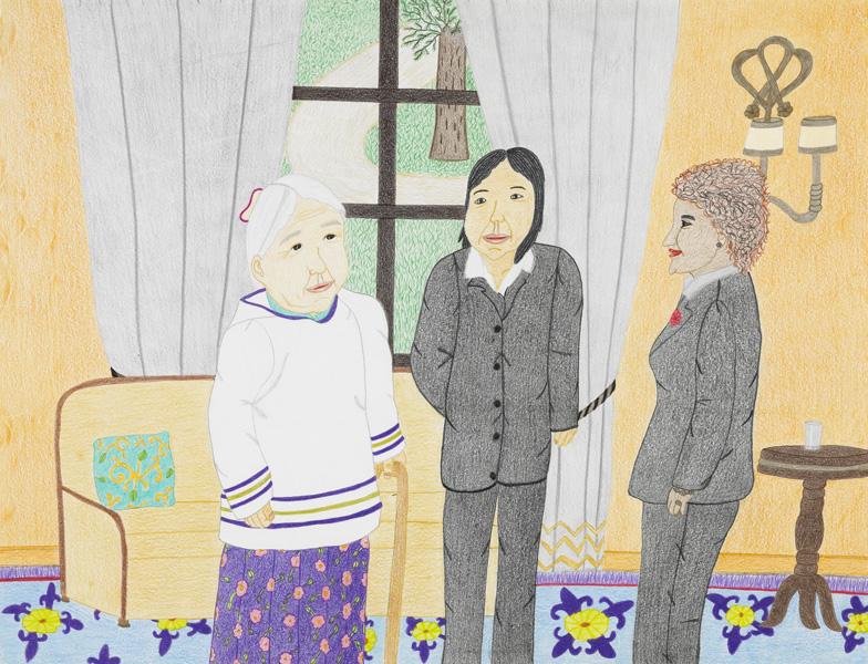 Annie Pootoogook Sans titre (Kenojuak et Annie avec la gouverneure générale Micha\u00eblle Jean), 2010.