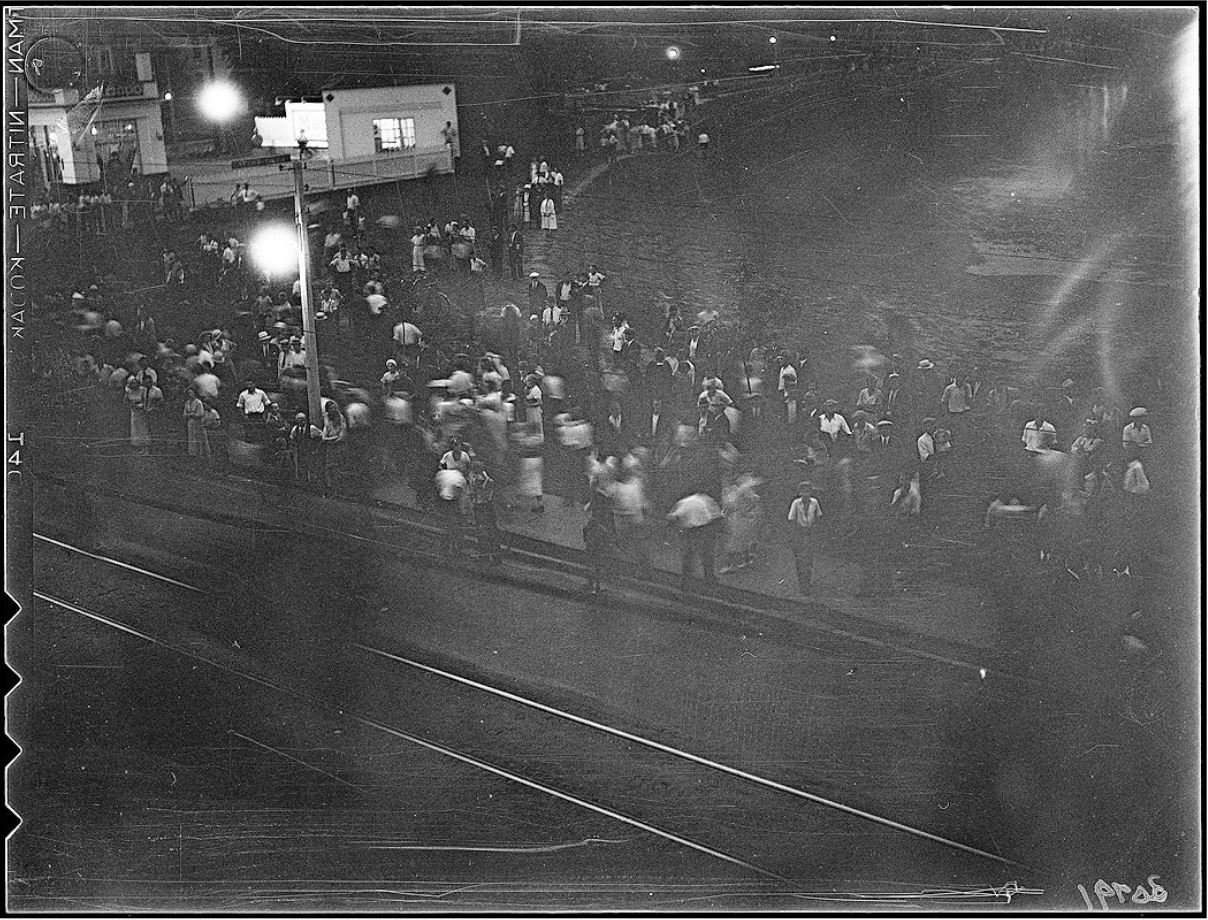 Photograph of the riot at Christie Pits park