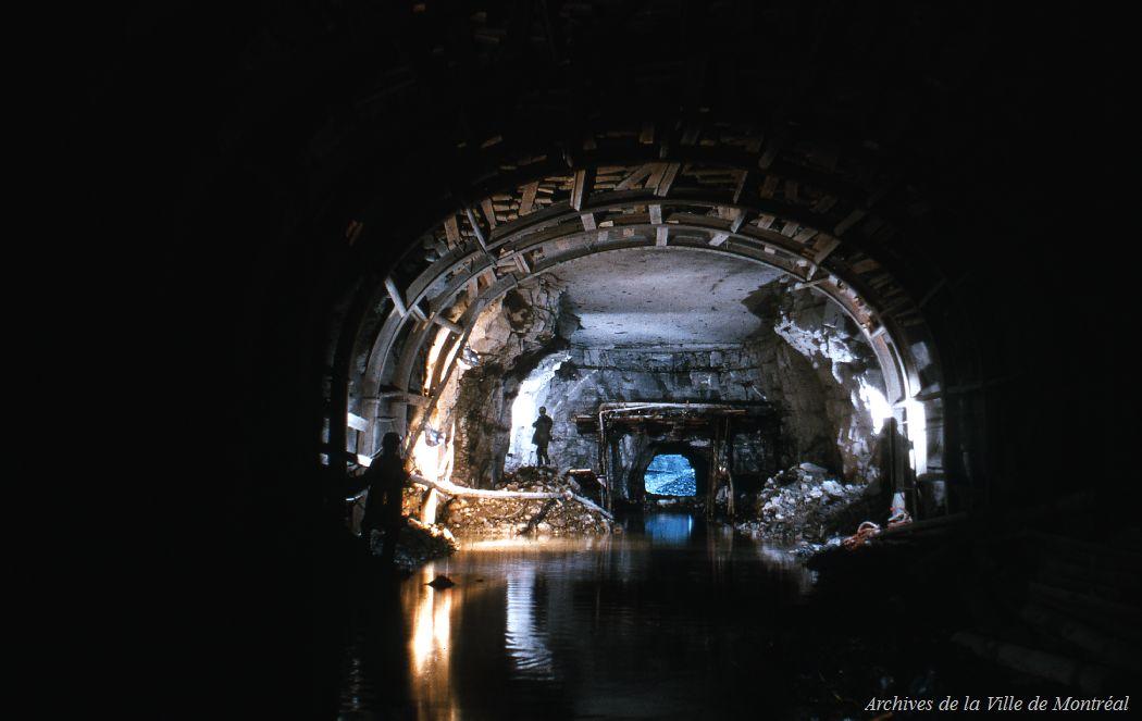 Tunnel en construction, Métro de Montréal, 1963
