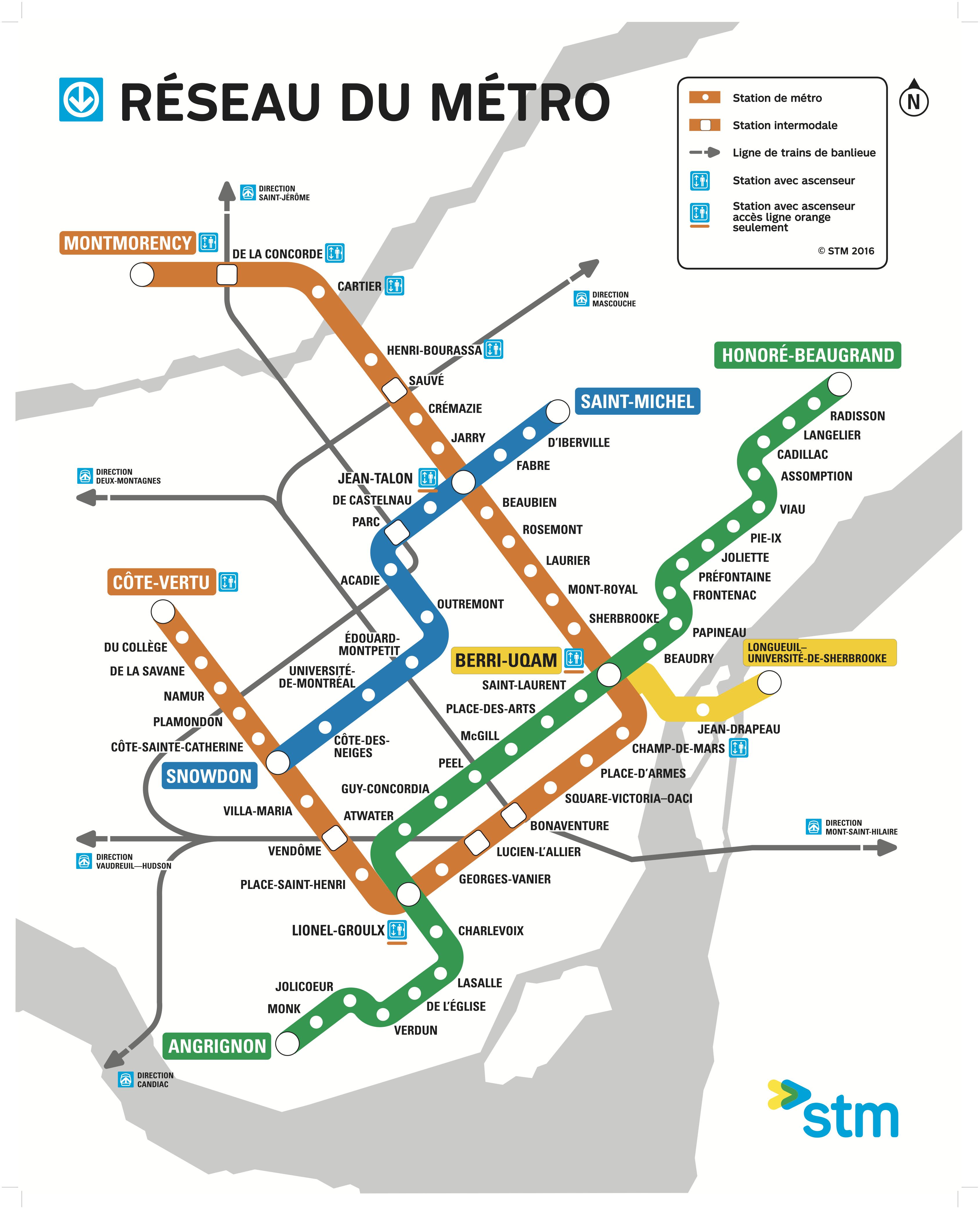 Carte du réseau du Métro de Montréal, 2016