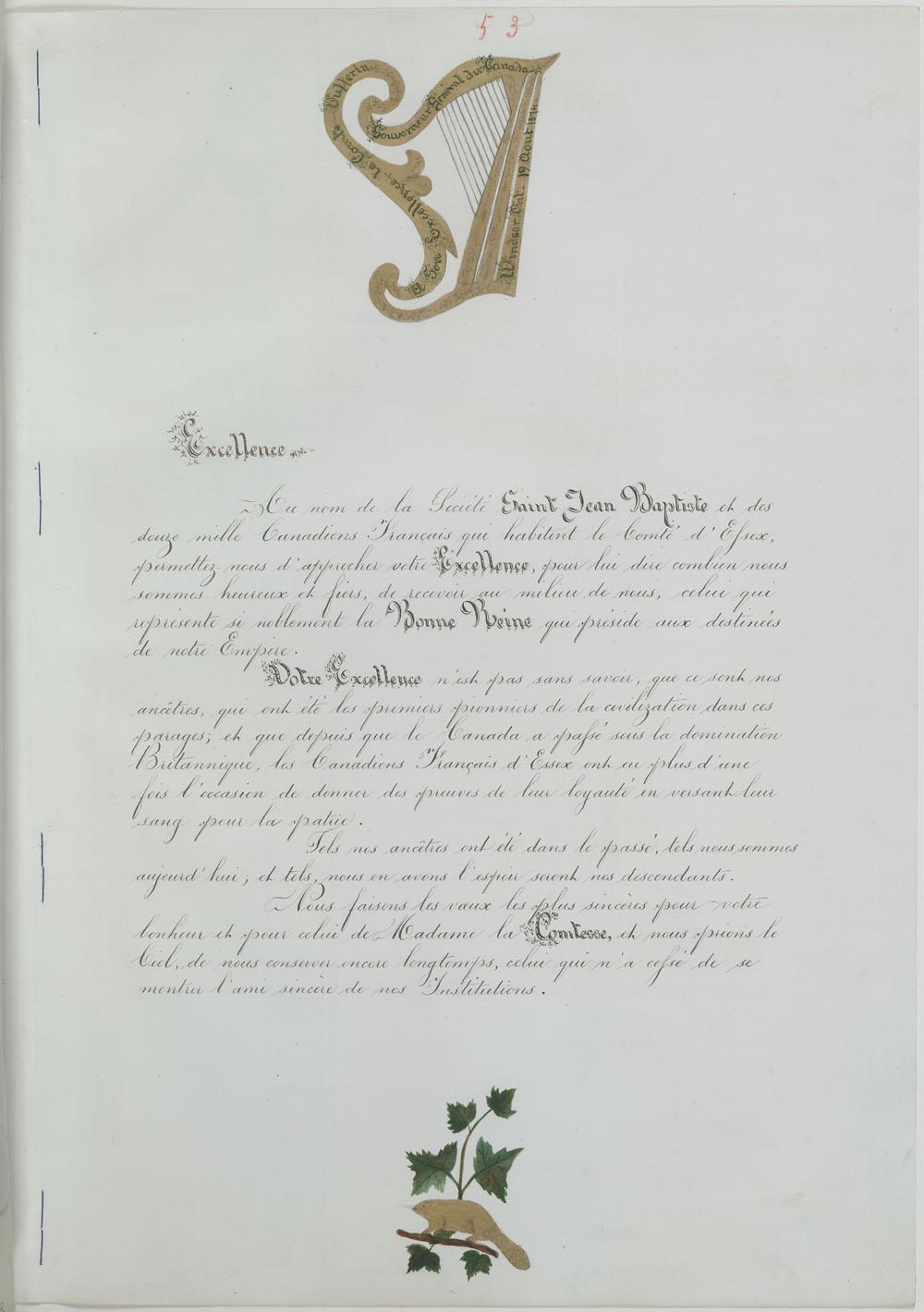 Address to Lord Dufferin from La Société St. Jean Baptiste of Essex County, Windsor