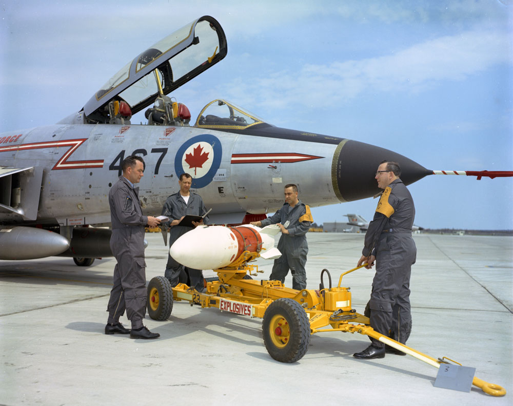 RCAF CF-101 Voodoo alongside a Genie air rocket which could be armed with a nuclear warhead