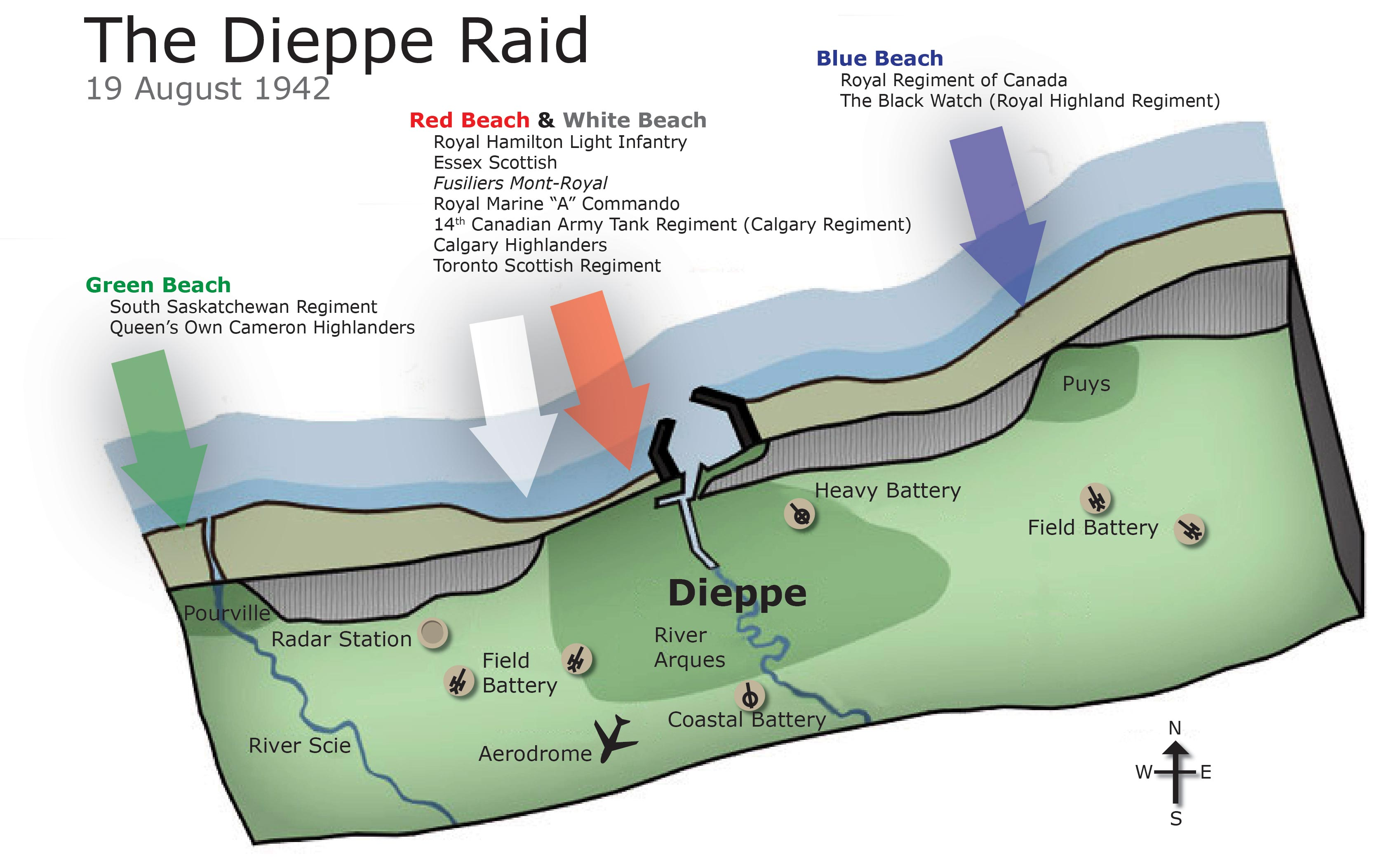 Map of the Dieppe Raid