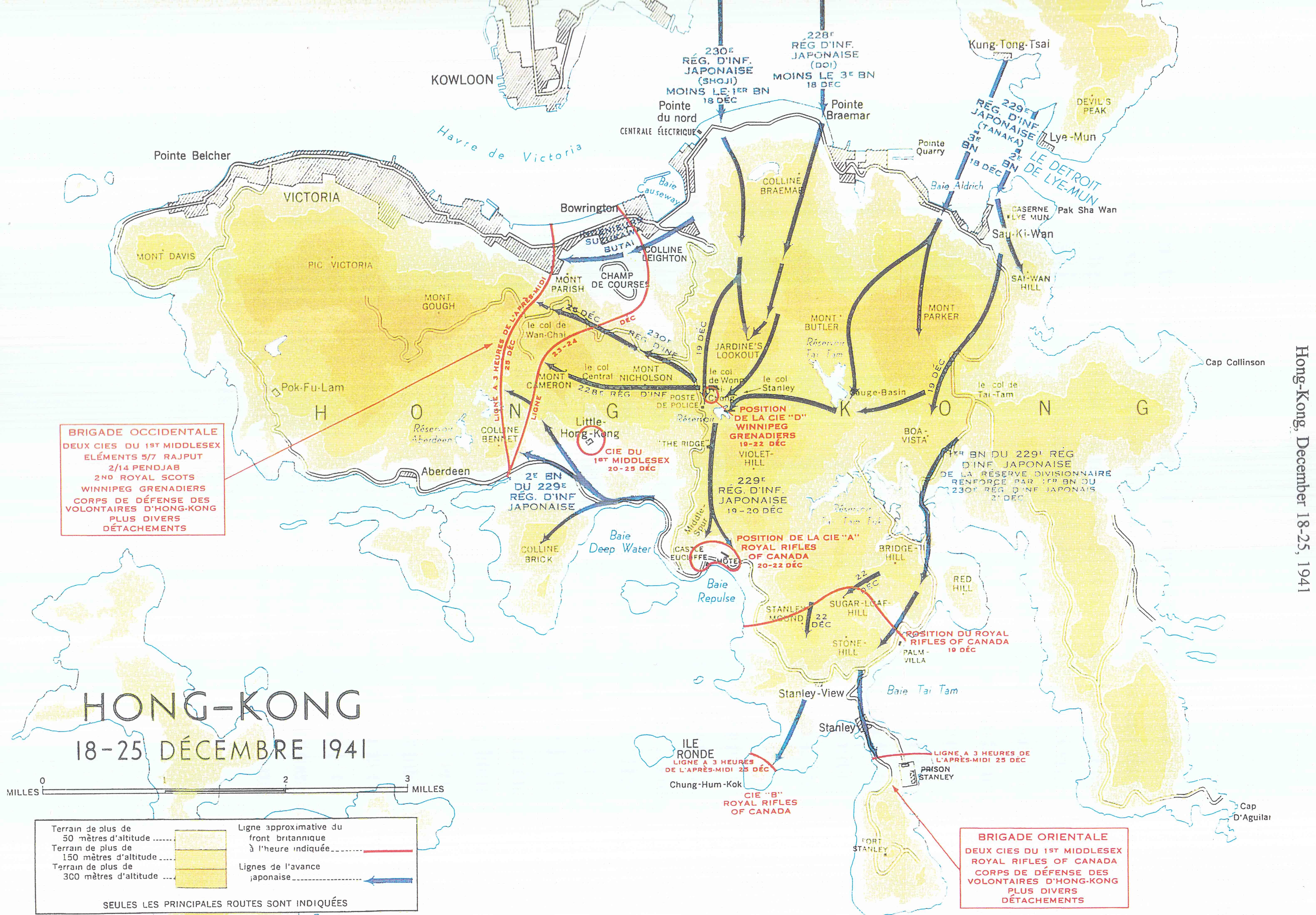 Carte de Hong Kong, 1941.