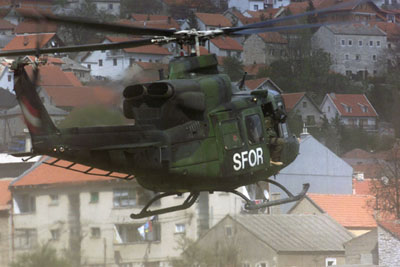 A Canadian CH-146 Griffon helicopter in Bosnia-Herzegovina