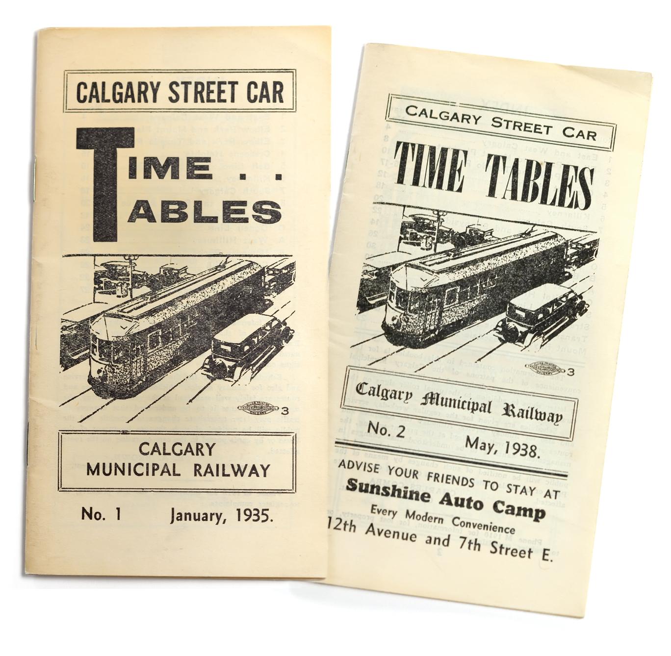 Horaire du service des tramways de Calgary, 1935 et 1938