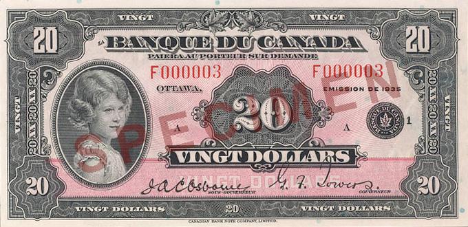 Côté recto du billet de 20 $ (1935\u201337)