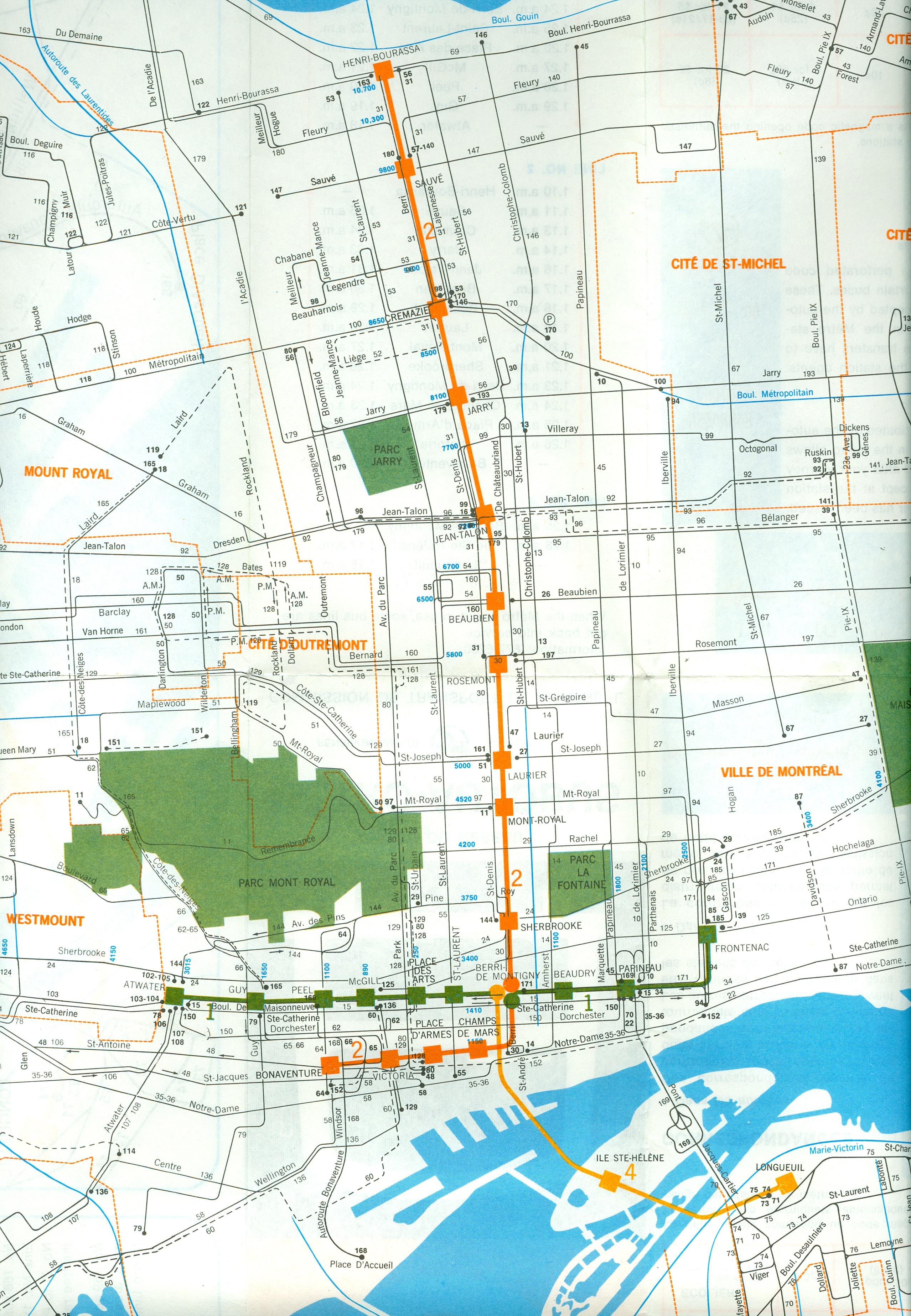 Métro de Montréal, carte du réseau initial, 1967