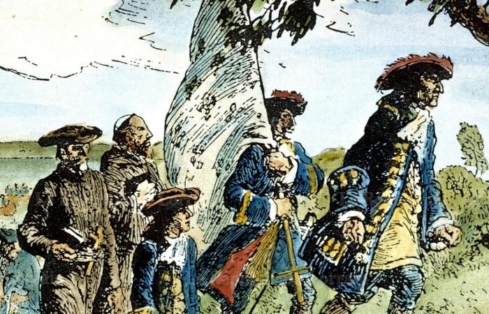 Antoine Laumet, dit de Lamothe Cadillac arriving in Détroit in 1701 with his men.