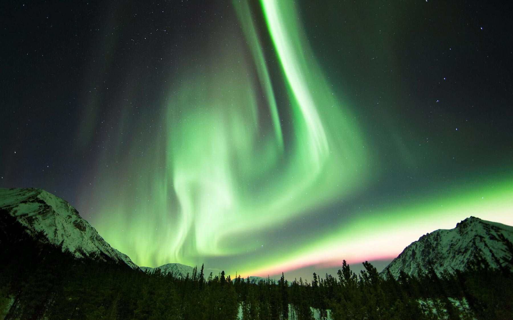 The aurora lights in the Yukon Territory.