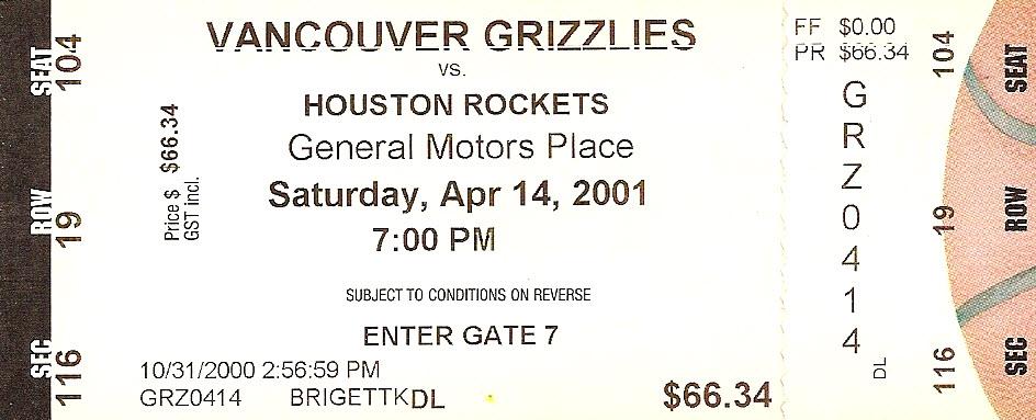 Vancouver Grizzlies Ticket