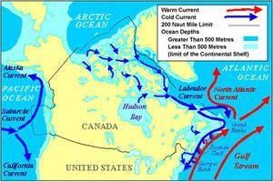 Courants océaniques, carte des