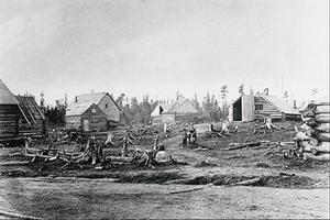 Village de cabanes en bois rond