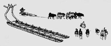Traîneau arctique et attelage de chiens