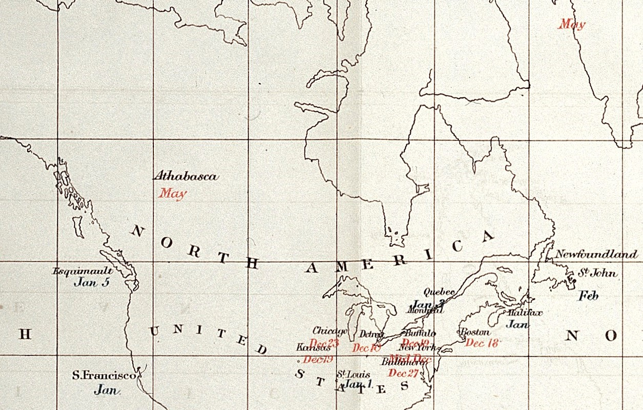 Map Showing Recorded Dates of Influenza Epidemic  in 1889 and 1890 (cropped)