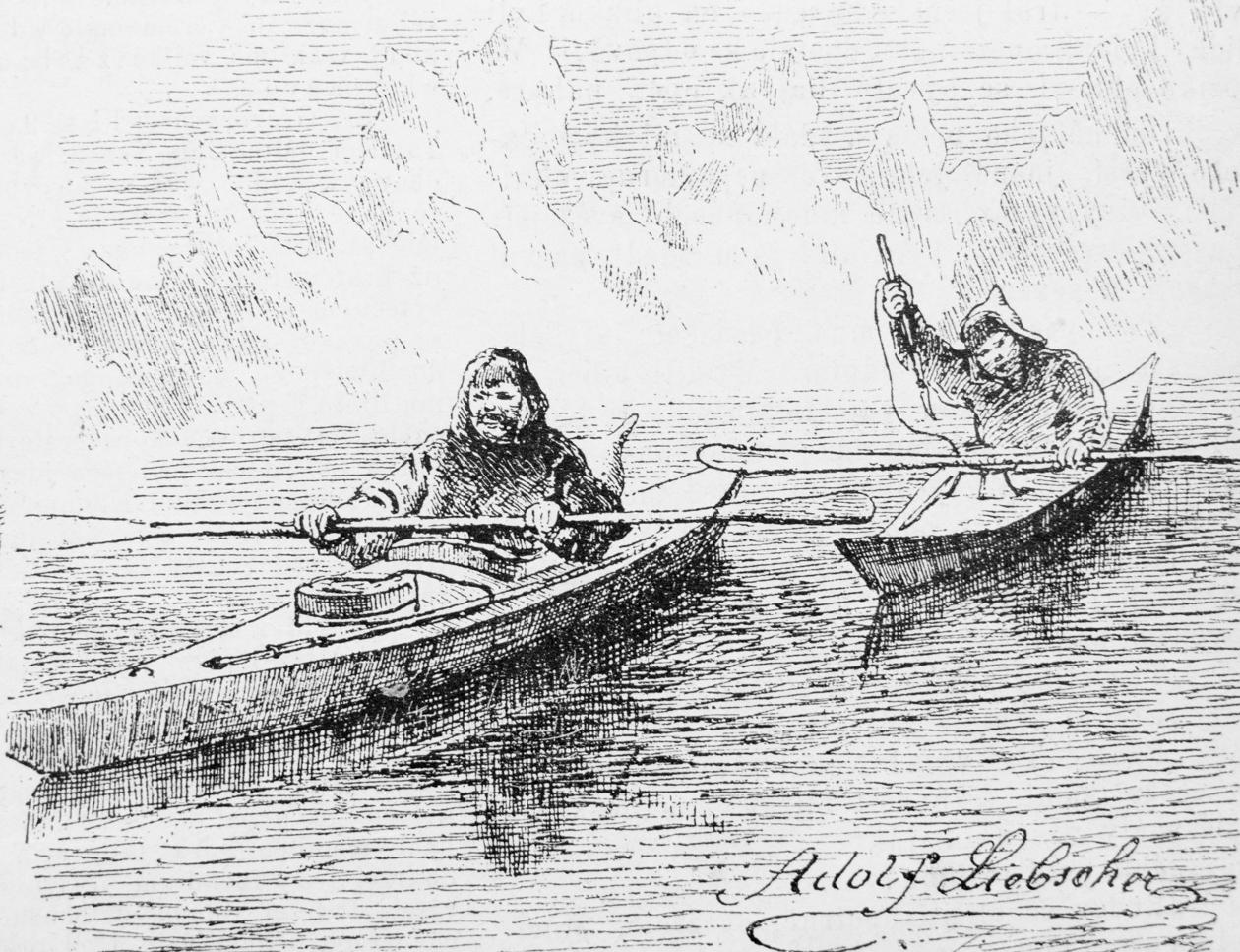 Abraham Ulrikab and friend Tobias kayaking, Labrador
