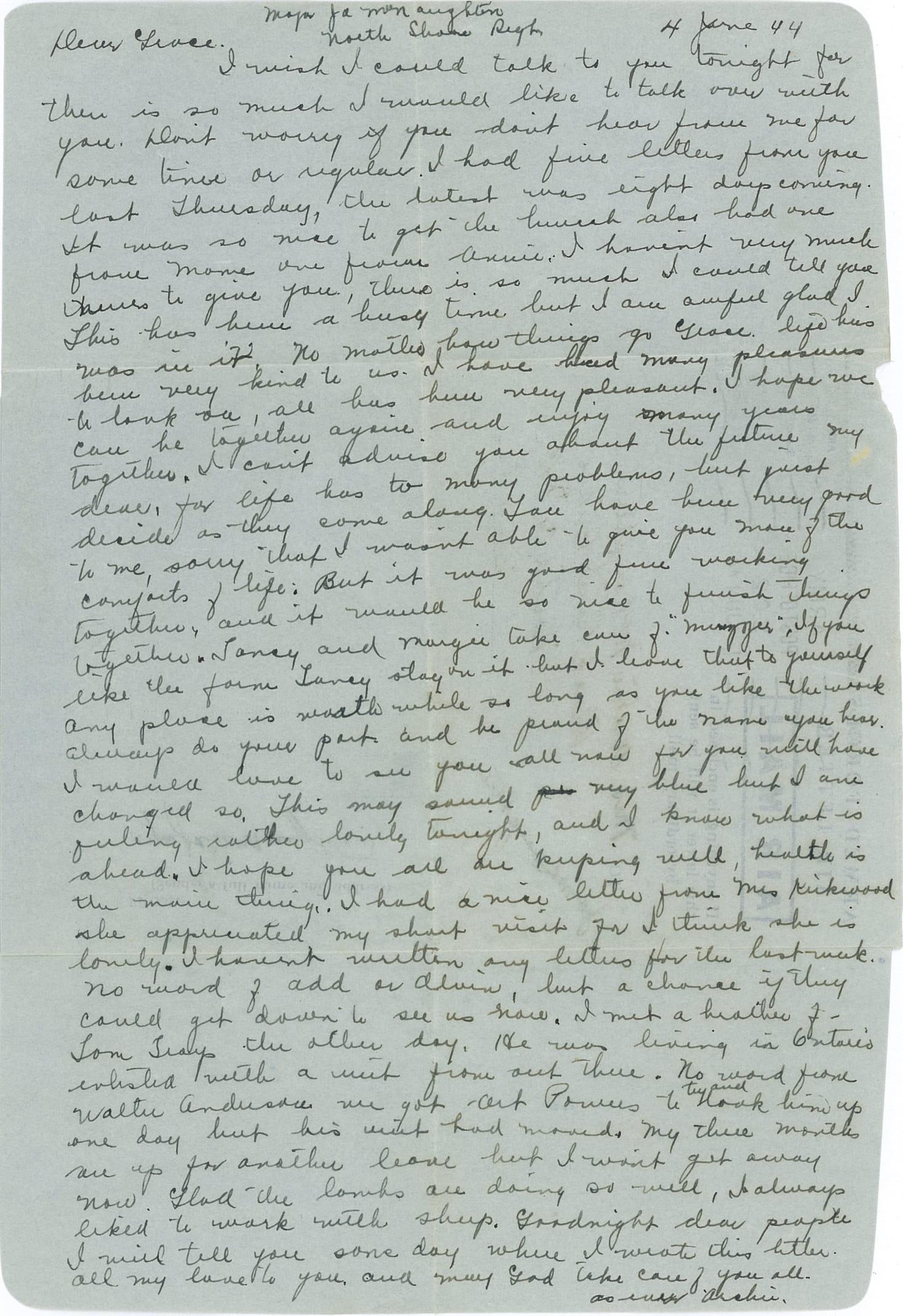Archie MacNaughton's letter