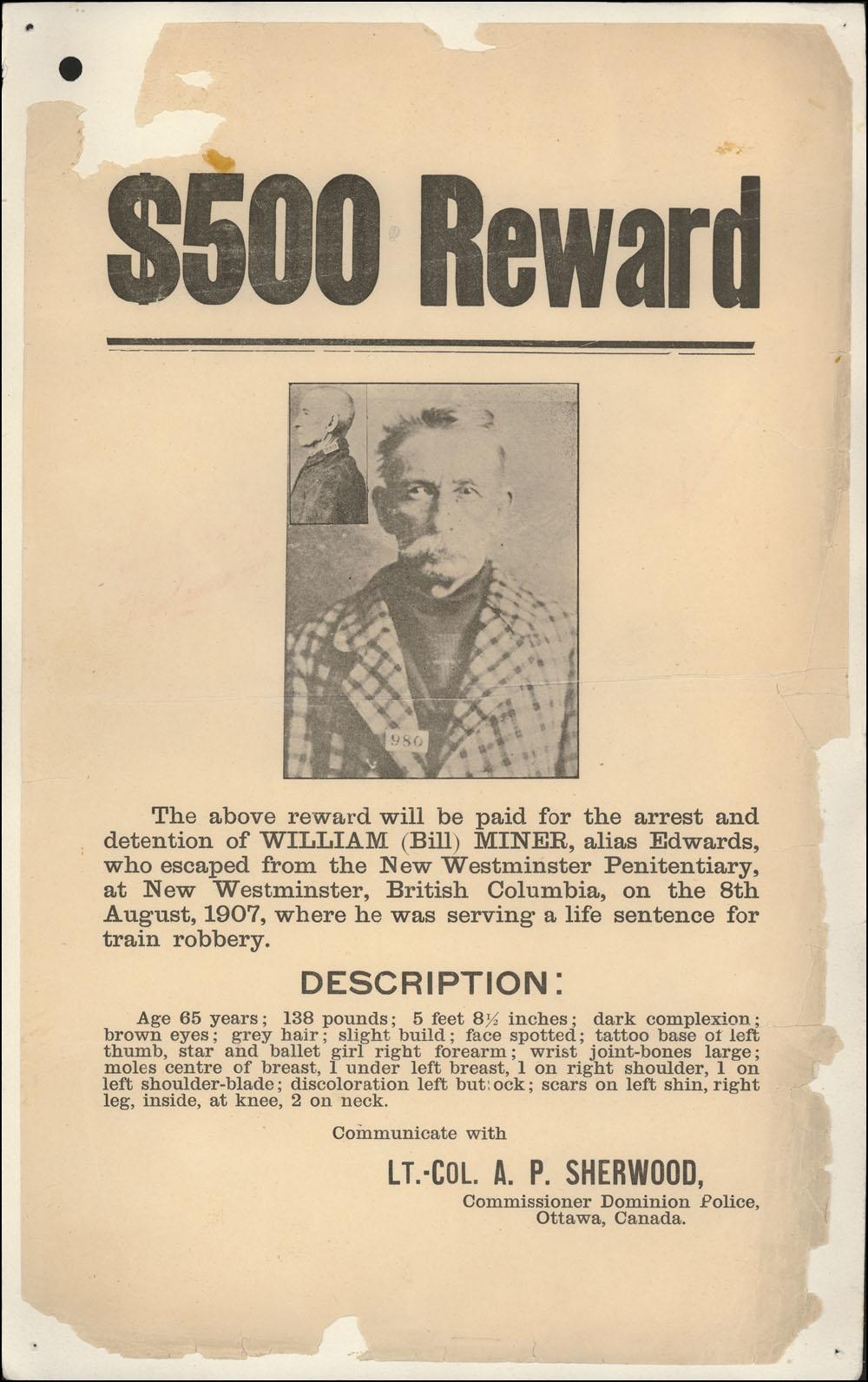 Reward Notice for Bill Miner