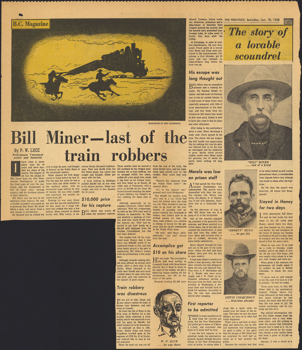 """Bill Miner — last of the train robbers."""