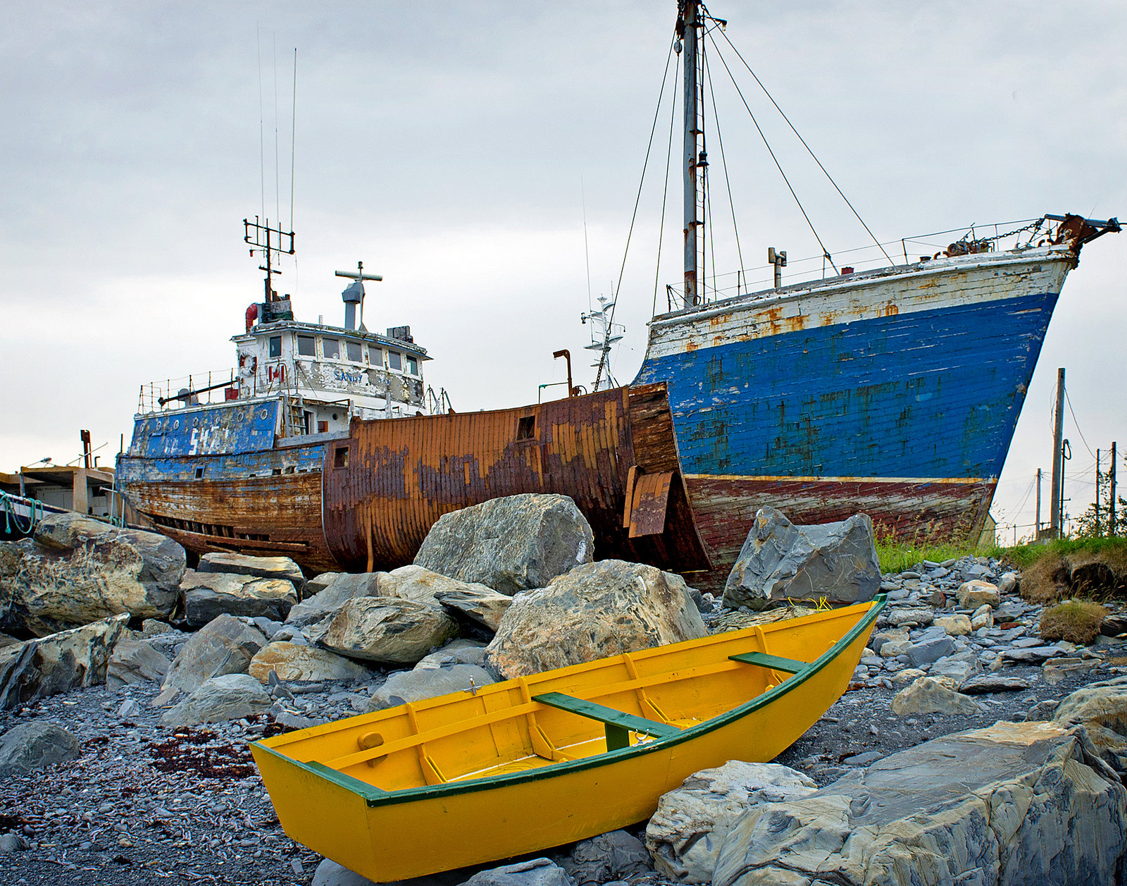 Photo of beached boats in Harbour Grace, Newfoundland and Labrador