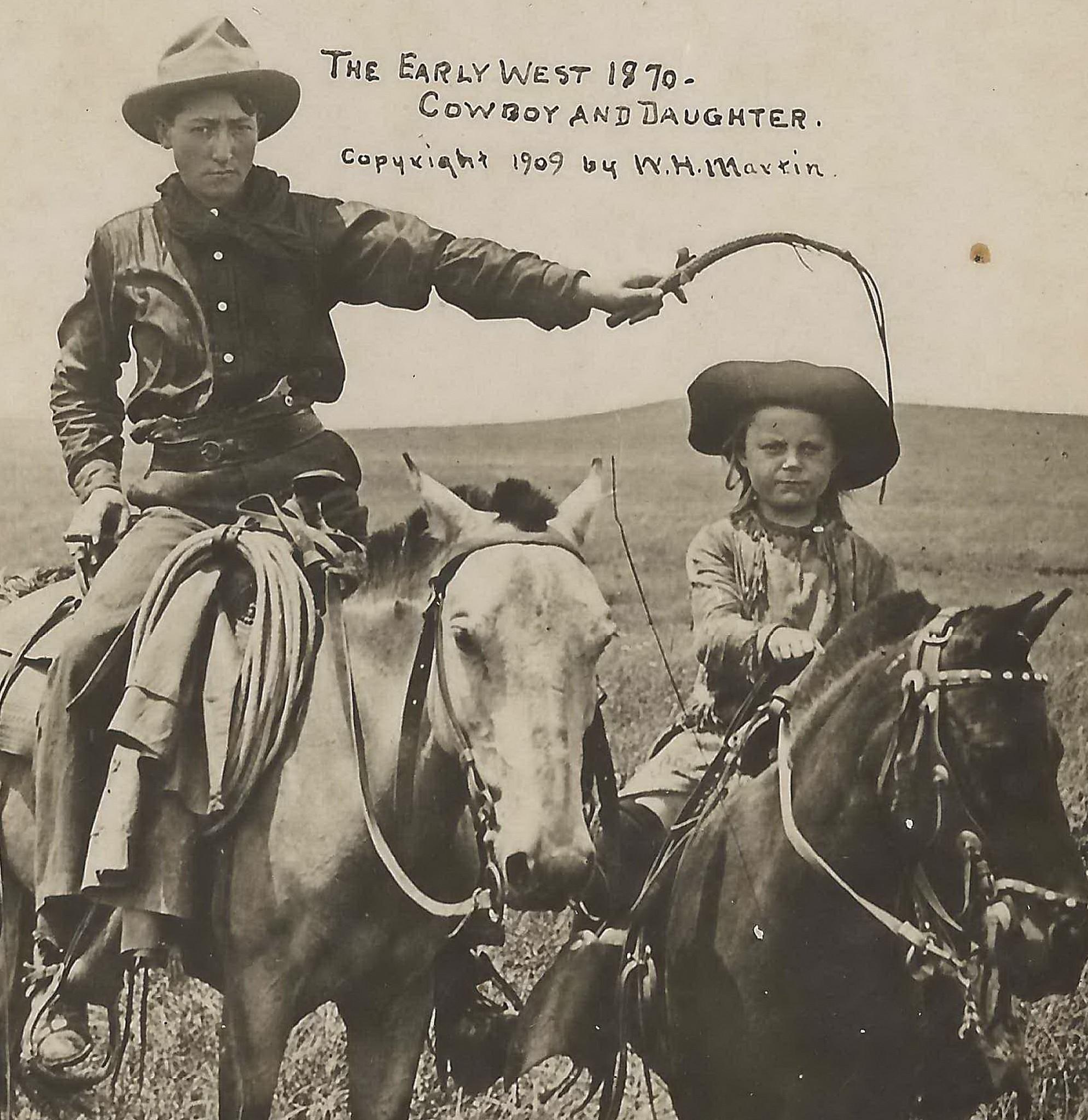 Un cowboy et sa fille, vers 1870