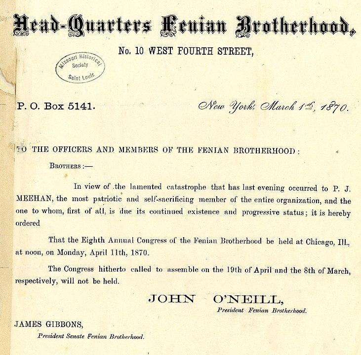 Fenian Brotherhood Telegram