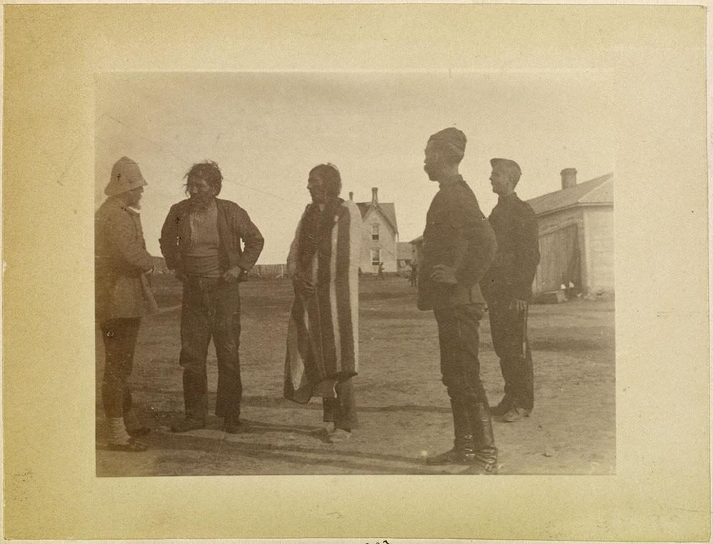 Cree Chief Pitikwahanapiwiyin (Poundmaker) with a point blanket