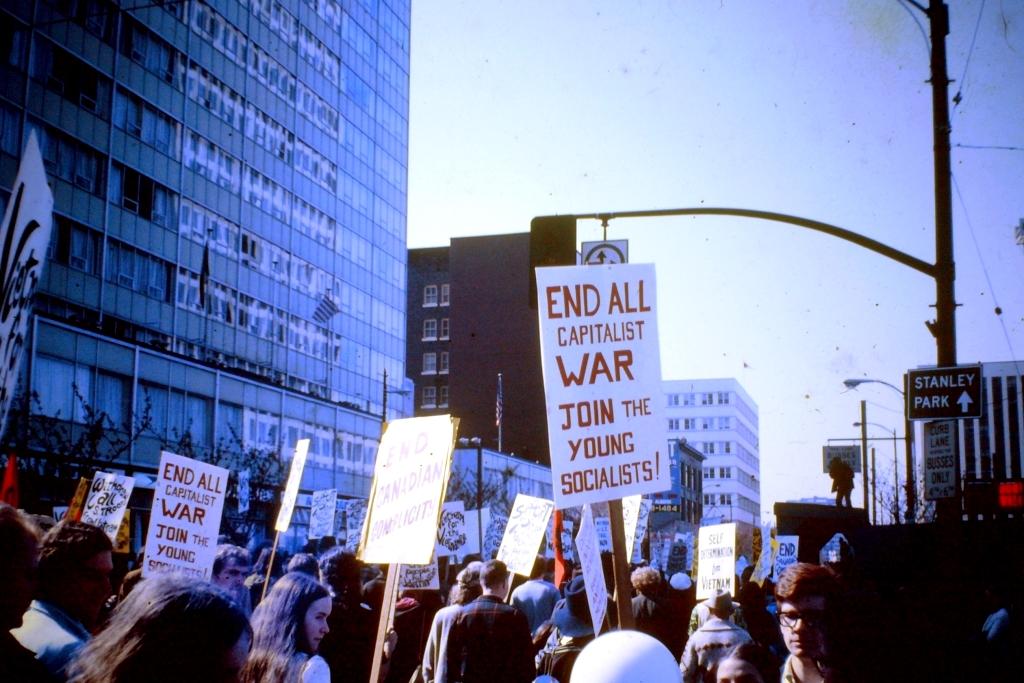 Anti-Vietnam war demonstration in Vancouver, BC.  1968.