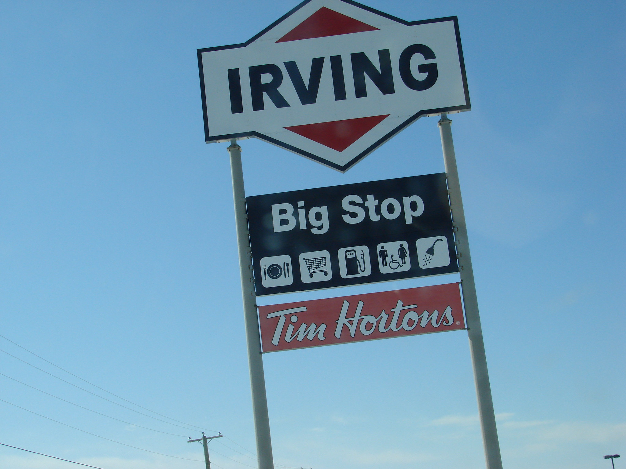 Photo of an Irving Big Stop sign in Salisbury, NB