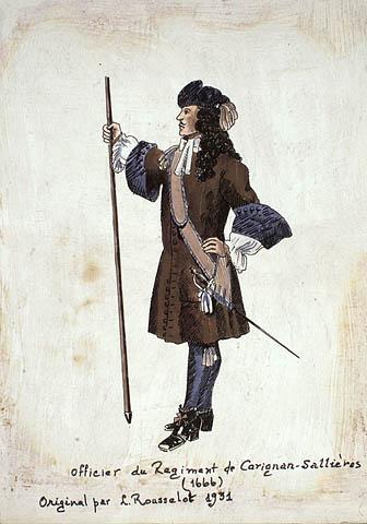 Illustration of an officer of the Carignan-Salières Regiment, 1666