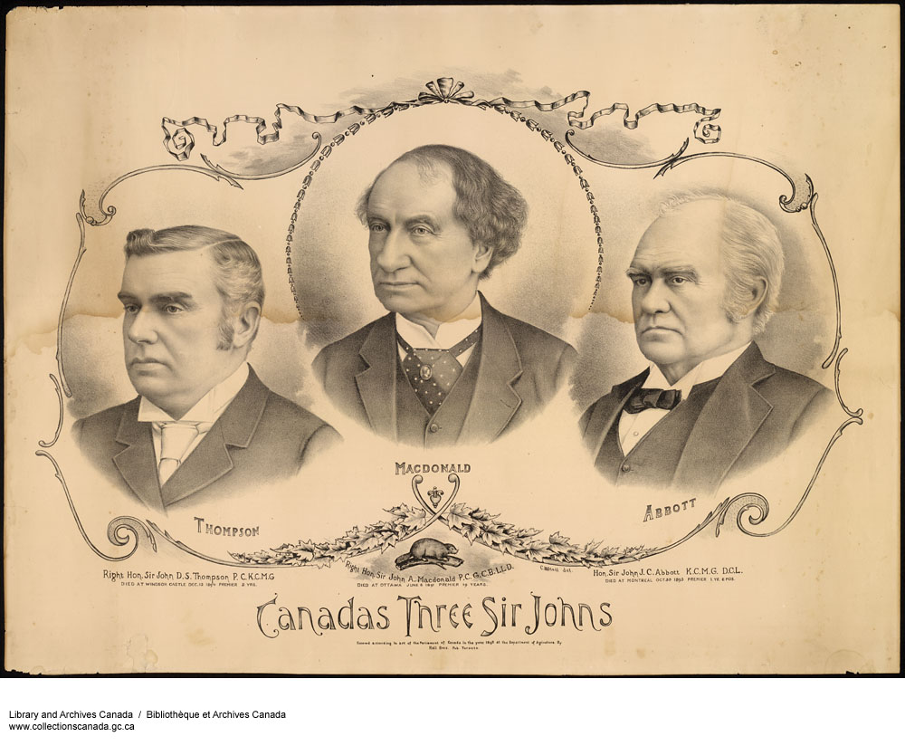 Sir John D. S. Thompson, Sir John A. Macdonald, Sir John J. C. Abbott.