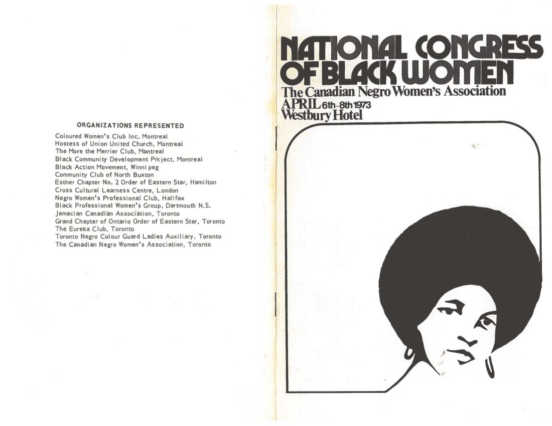 Dépliant du congrès national des femmes noires, avril 1973.