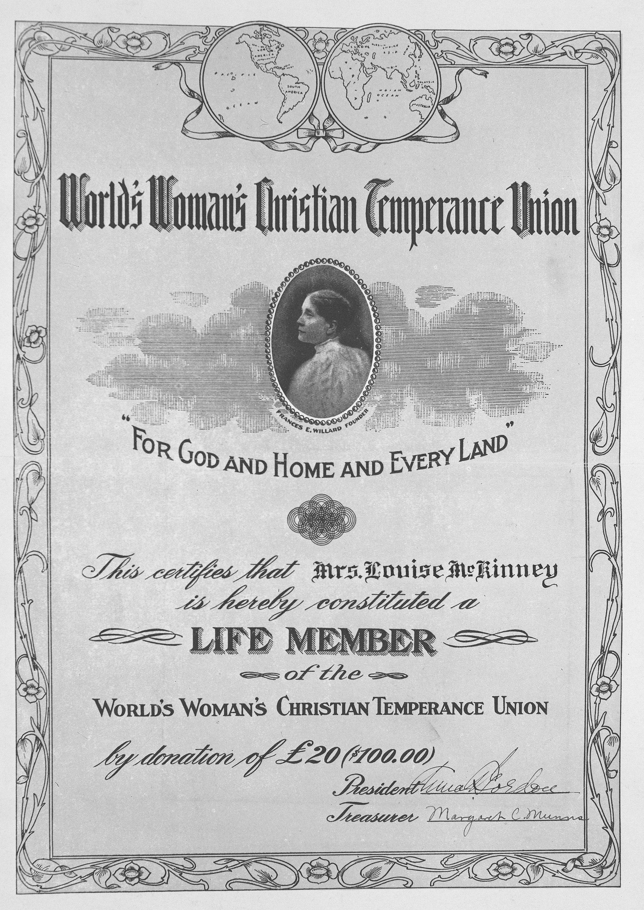 Certificat WCTU décerné à Louise McKinney
