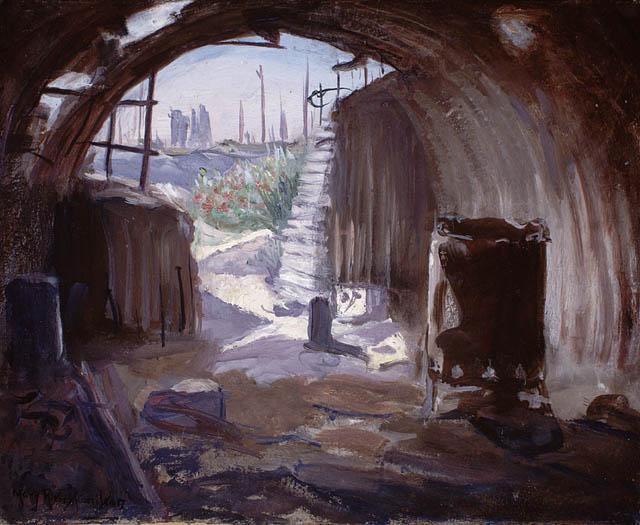 Interior of a Pill Box, Flanders (1920)