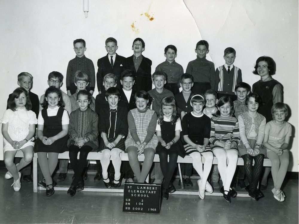 La classe de 3e année à l'école primaire de Saint‑Lambert (1968)