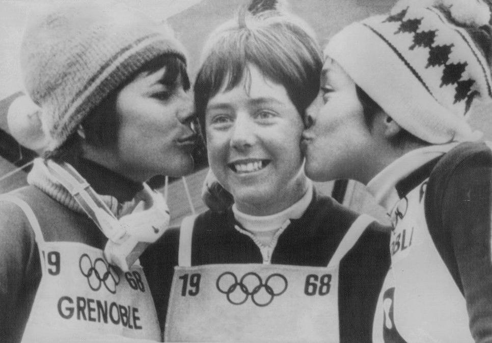 Annie Famose, Nancy Greene and Fernande Bochatay at 1968 Olympic Winter Games