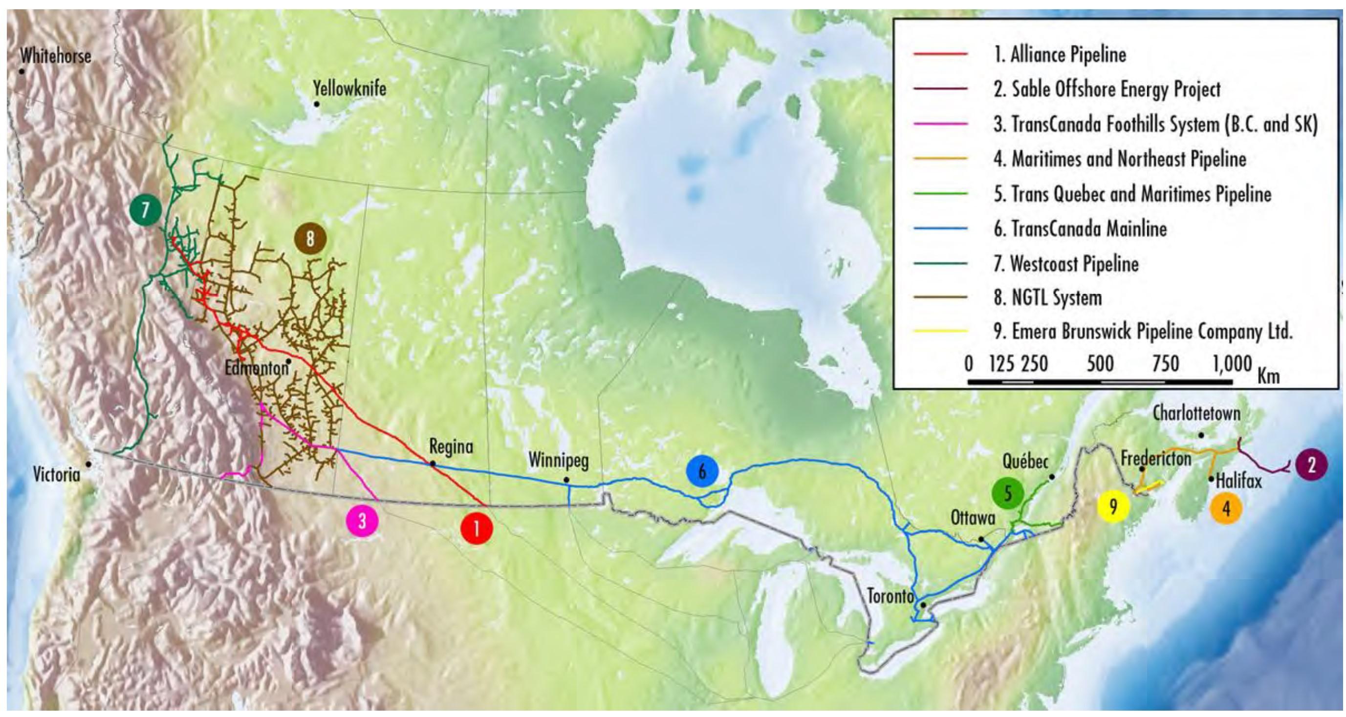 Carte des pipelines de gaz naturel réglementés au Canada