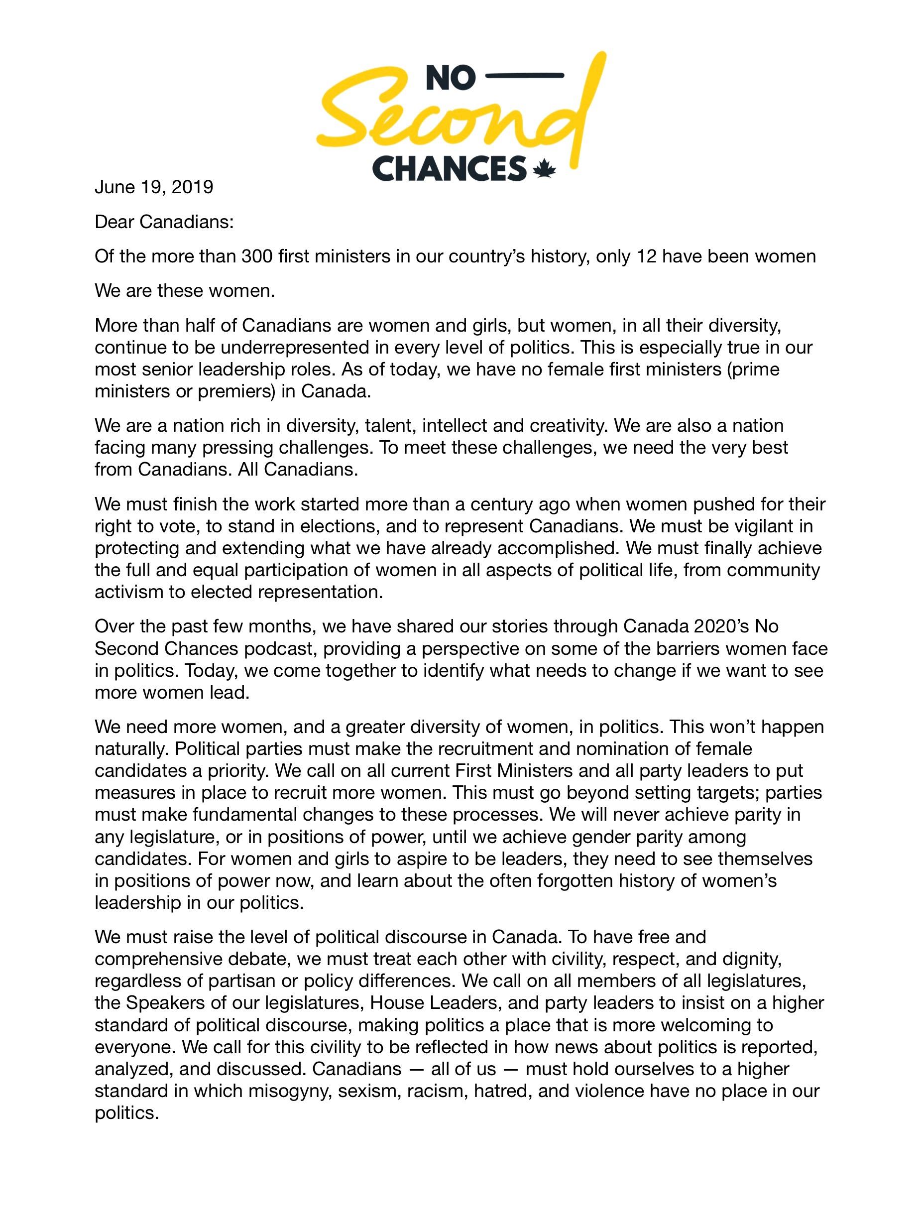 Une lettre ouverte des premières ministres du Canada