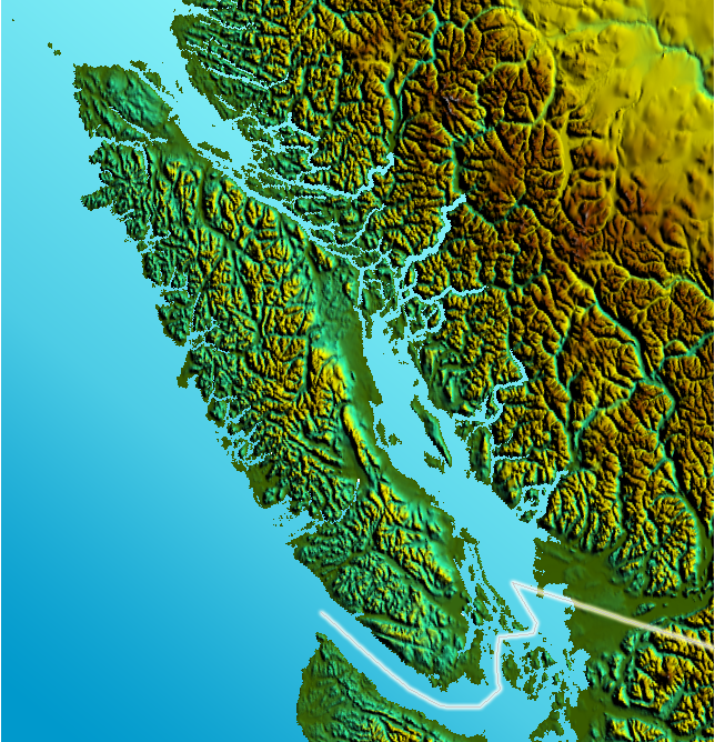 Vancouver Island with Canada-US Border