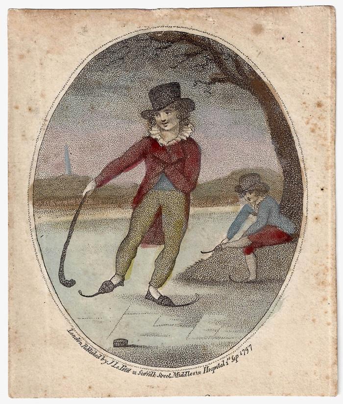 Gravure de 1797 représentant une activité ressemblant au hockey