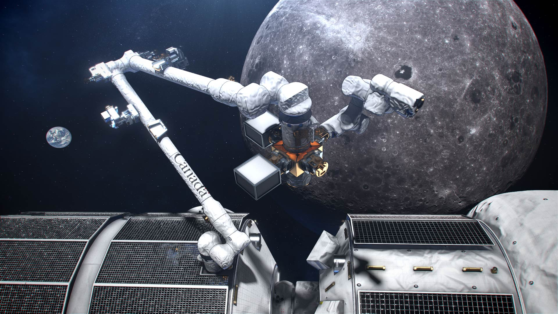 An artist's concept of Canada's smart robotic system for the Lunar Gateway
