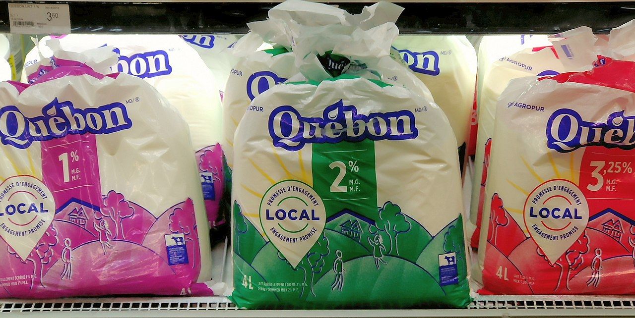 Photo of bagged milk for sale in Quebec