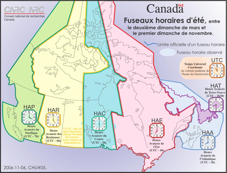 Fuseaux horaires de l'heure avancée au Canada