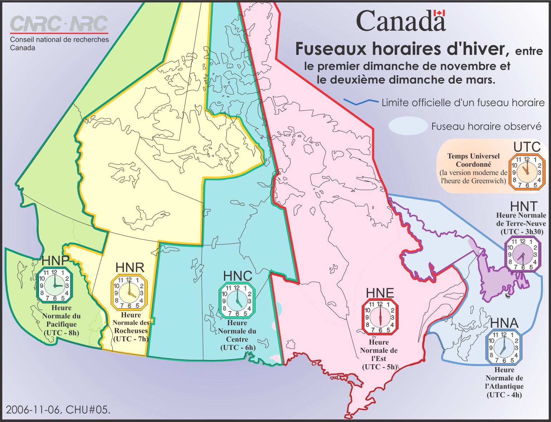 Fuseaux horaires de l'heure normale au Canada