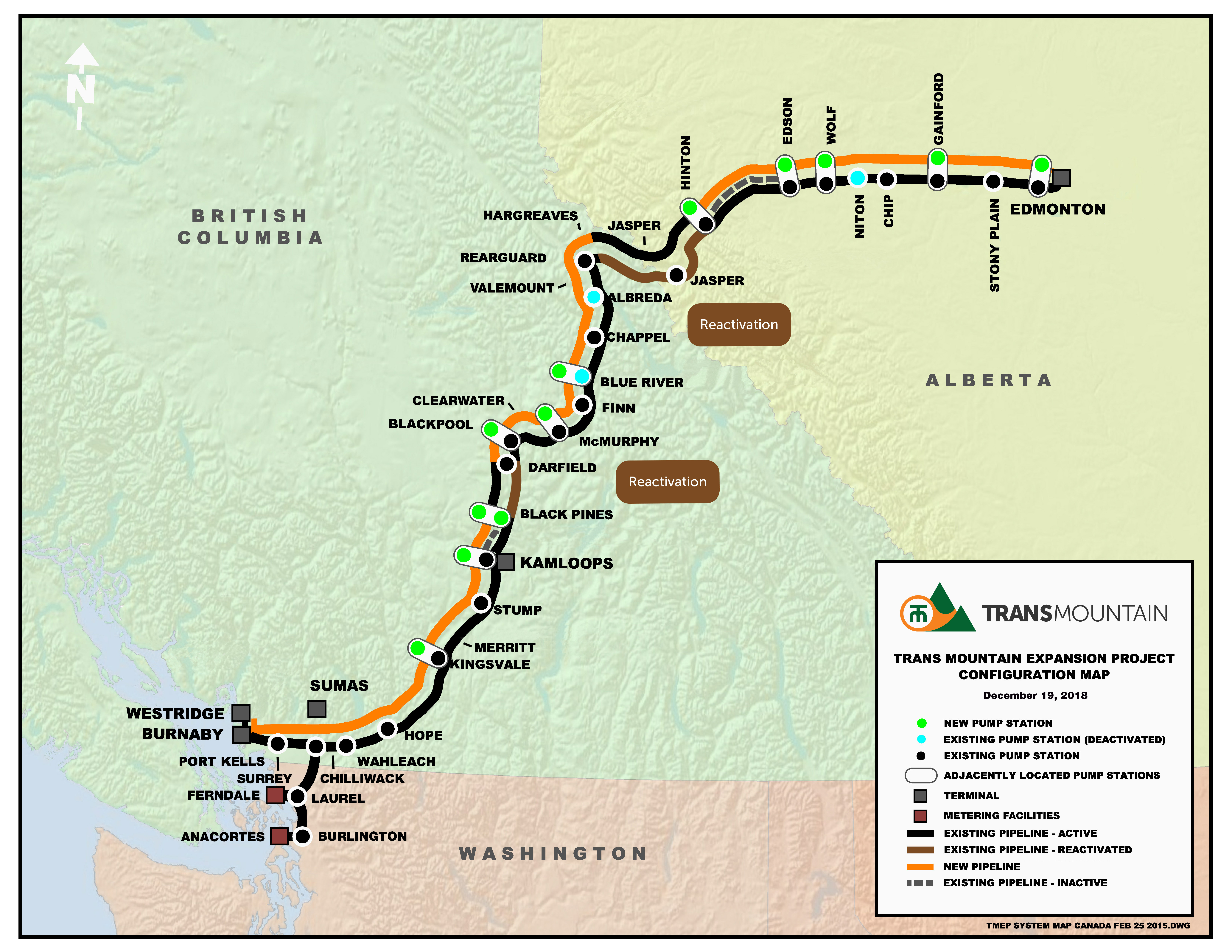 Map of the Trans Mountain Expansion Project