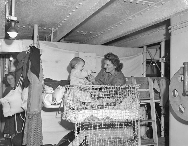 War Bride and Child on Ship